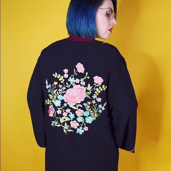 Jackets & Blazers - Black Sheer Floral Kimono Jacket